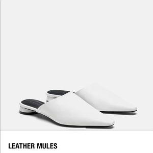 Zara White Leather Mules